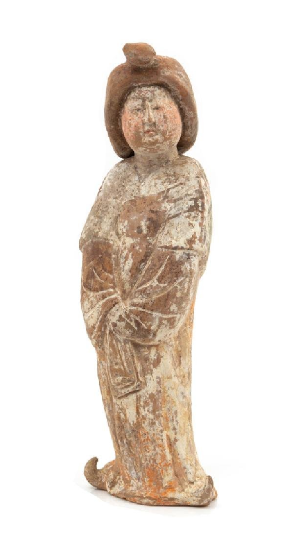 A Chinese Painted Pottery Figure of a Court Lady TANG