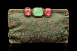 A Chinese Jadeite and Tourmaline Brooch the rich pink