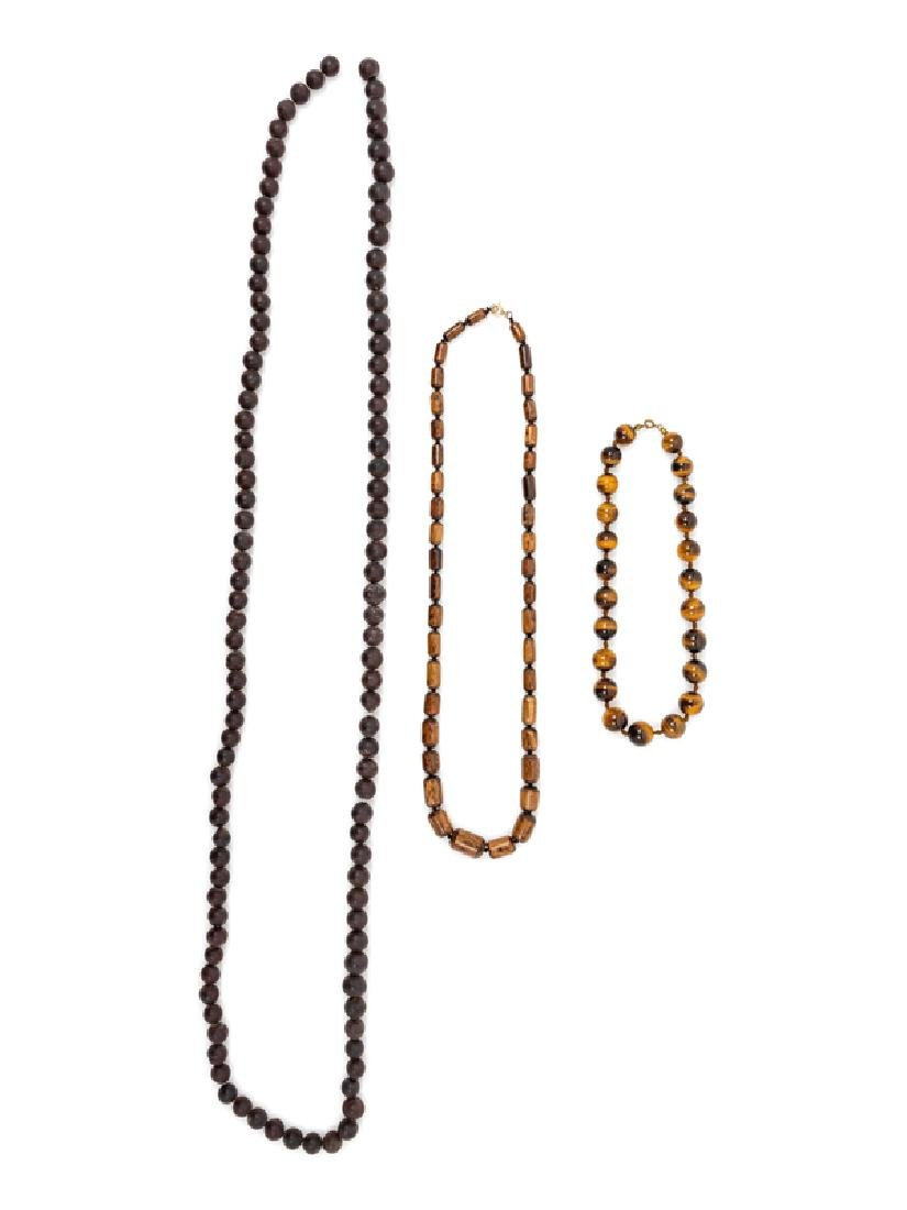 Three Chinese Beaded Necklaces Longest overall: 77