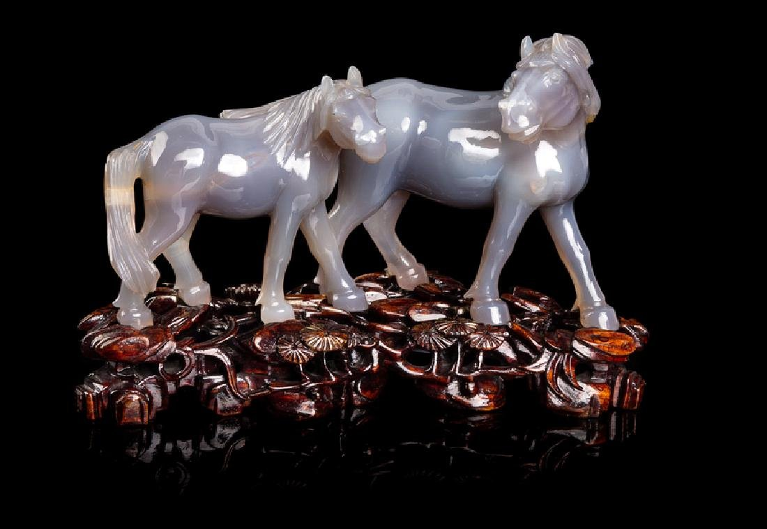 Two Chinese Hardstone Figures of Animals 20TH CENTURY