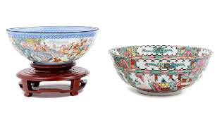 Two Chinese Export Famille Rose Porcelain Bowls 20TH