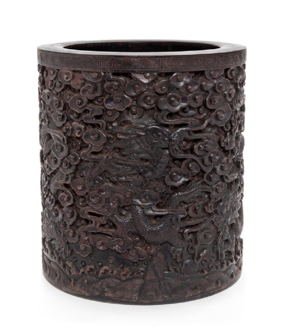 A Carved Chinese Rosewood Brushpot QING DYNASTY