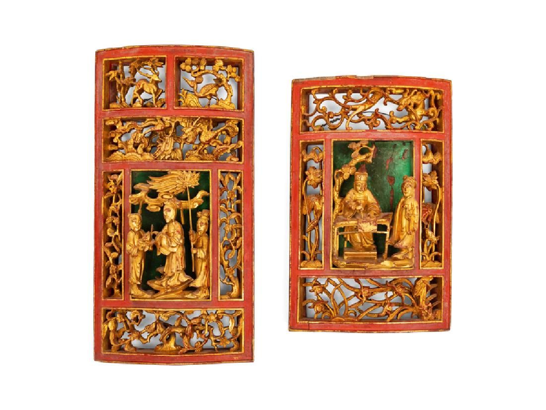 A Group of Carved Chinese Figures and Panels 20TH