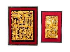 A Group of Four Chinese Gilt and Red Lacquered Wood