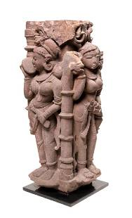 An Indian Sandstone Sculpture exquisitely carved in the