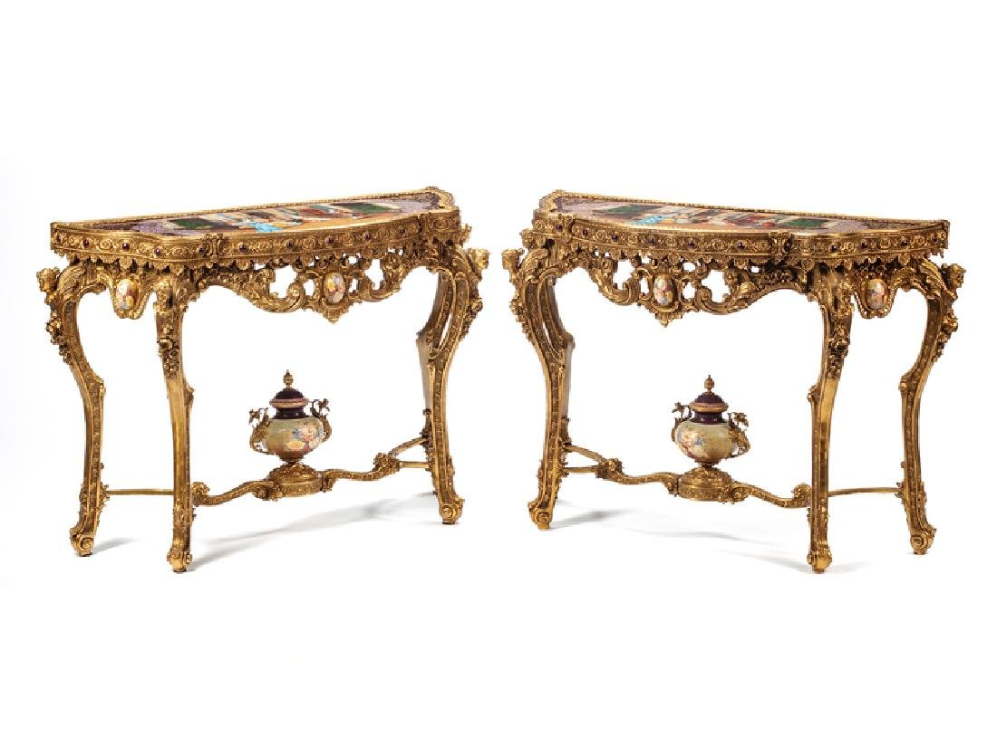 A Pair of Louis XV Style Porcelain Mounted Gilt Bronze