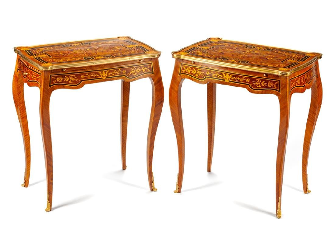 A Pair of Louis XV Style Gilt Bronze Mounted Marquetry