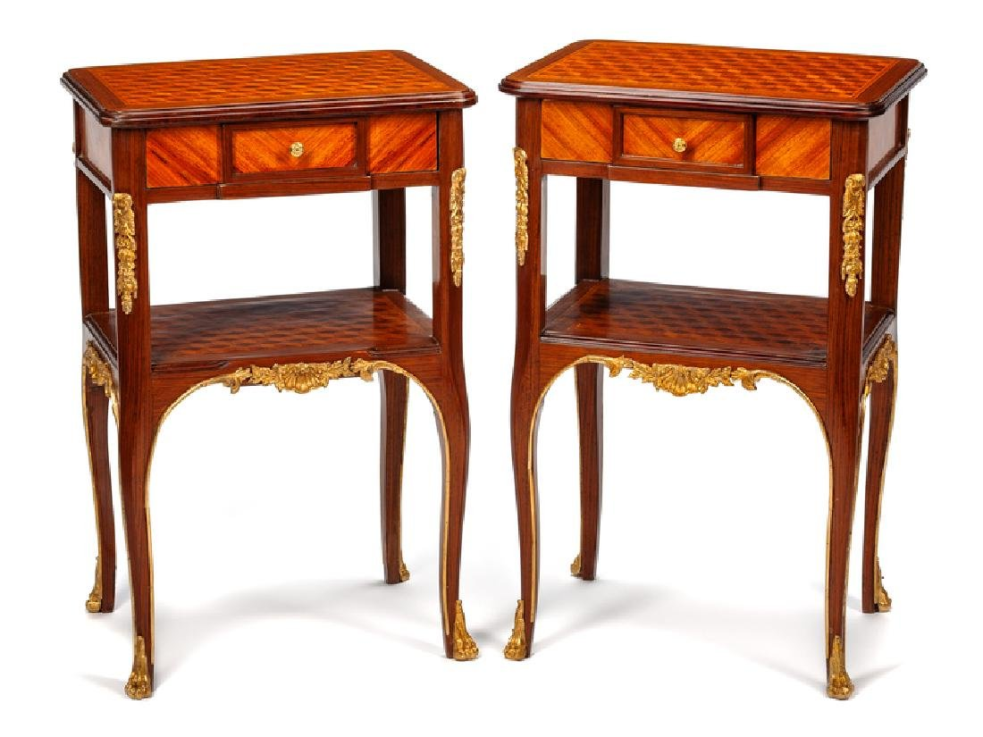 A Pair of Louis XV Style Gilt Bronze Mounted Occasional