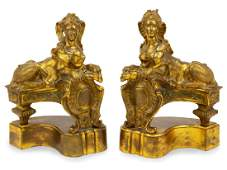 A Pair of Gilt Bronze Figural Chenets