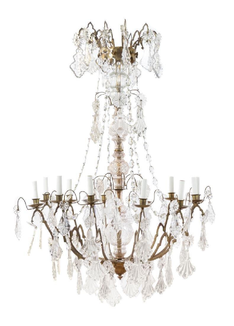 *A Gilt Bronze and Cut Glass Twelve-Light Chandelier