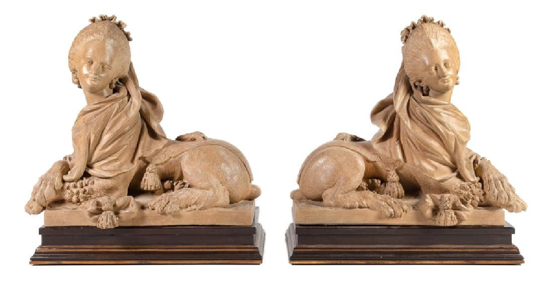 A Pair of French Terra Cotta Models of Sphinxes