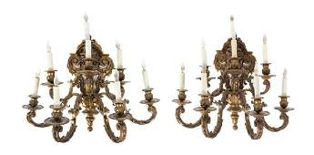 *A Pair of Neoclassical Gilt Bronze Eight-Light Sconces