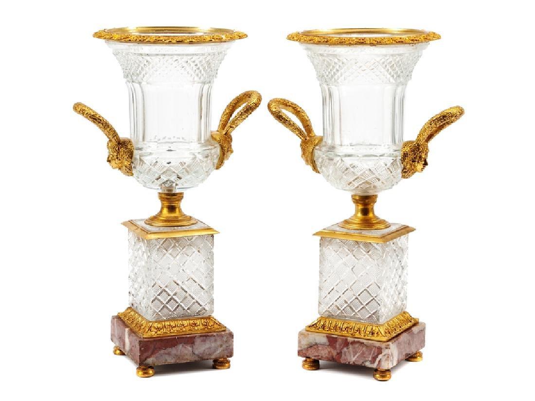 A Pair of Continental Gilt Bronze Mounted Cut Glass