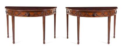 *A Pair of Adam Style Mahogany Console Tables