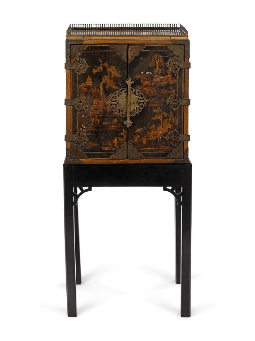 ... A Chinese Export Lacquered Cabinet On Stand 18th