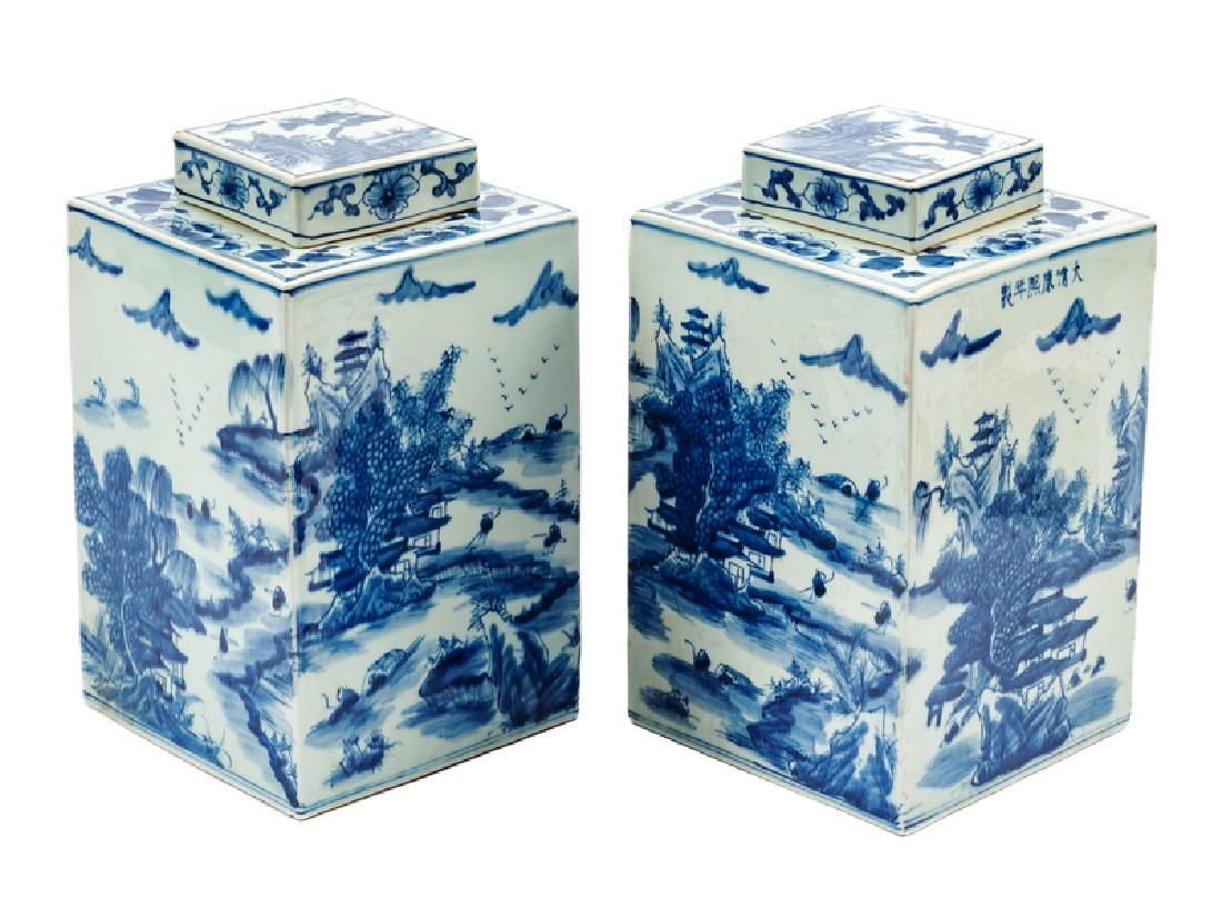 A Pair of Chinese Blue and White Porcelain Covered Tea