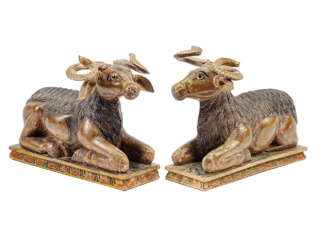 A Pair of Southeast Asian Carved and Polychromed
