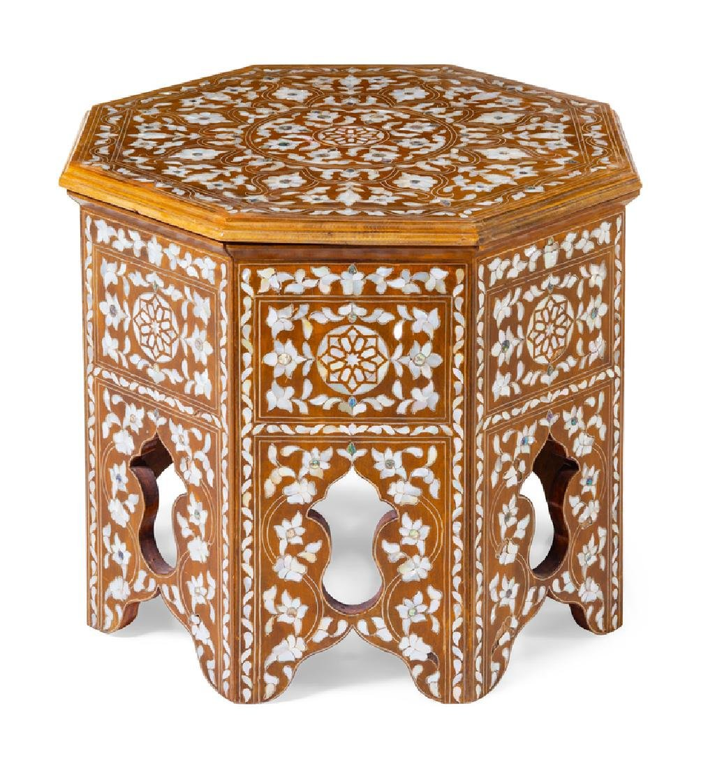A Syrian Mother-of-Pearl Inlaid Side Table