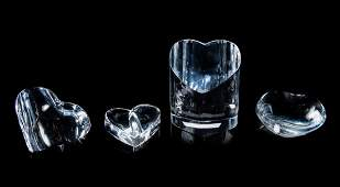 A Group of Four Heart-Form Glass Table Articles<b