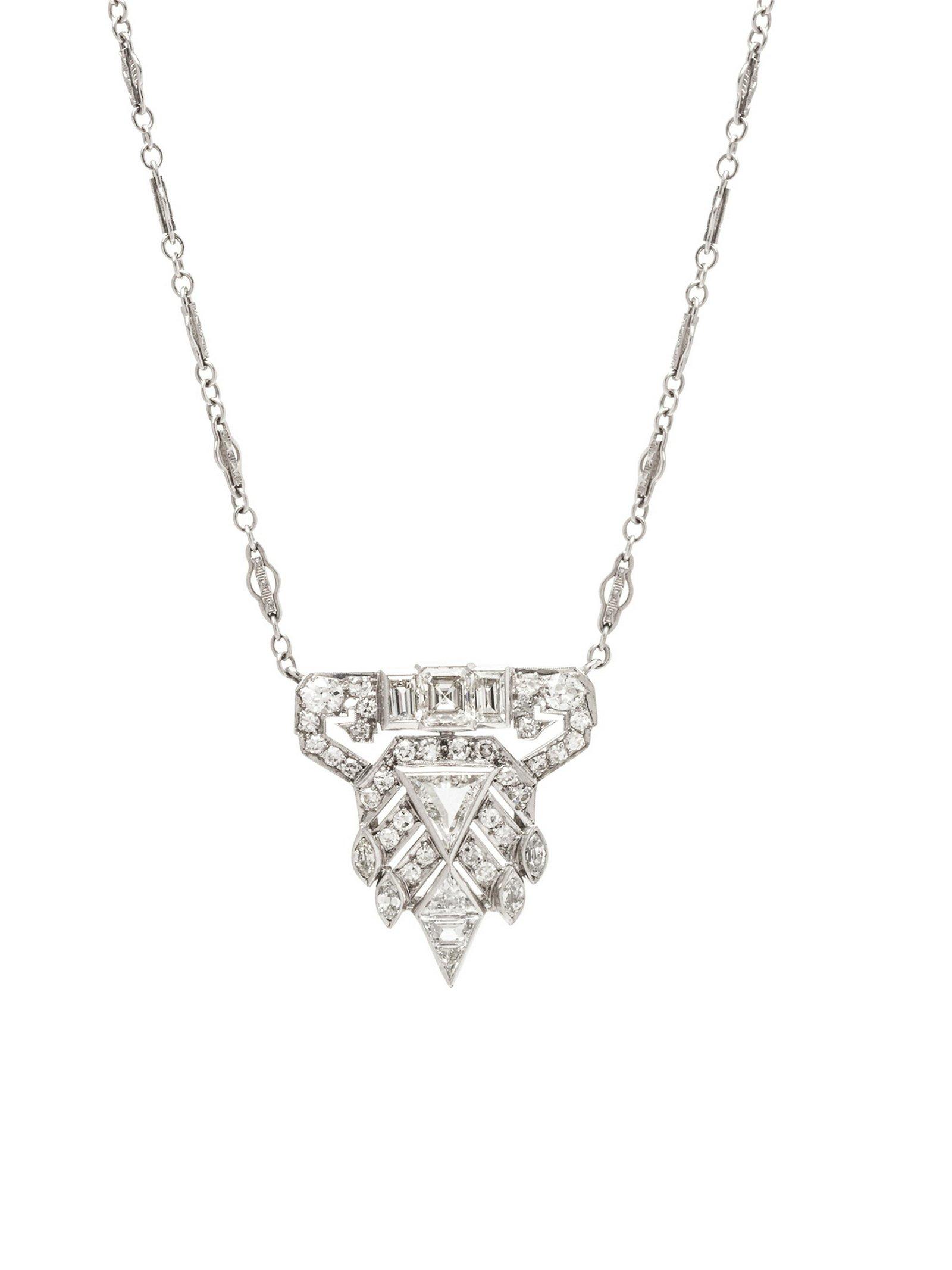 A Platinum, 14 Karat White Gold and Diamond Necklace,
