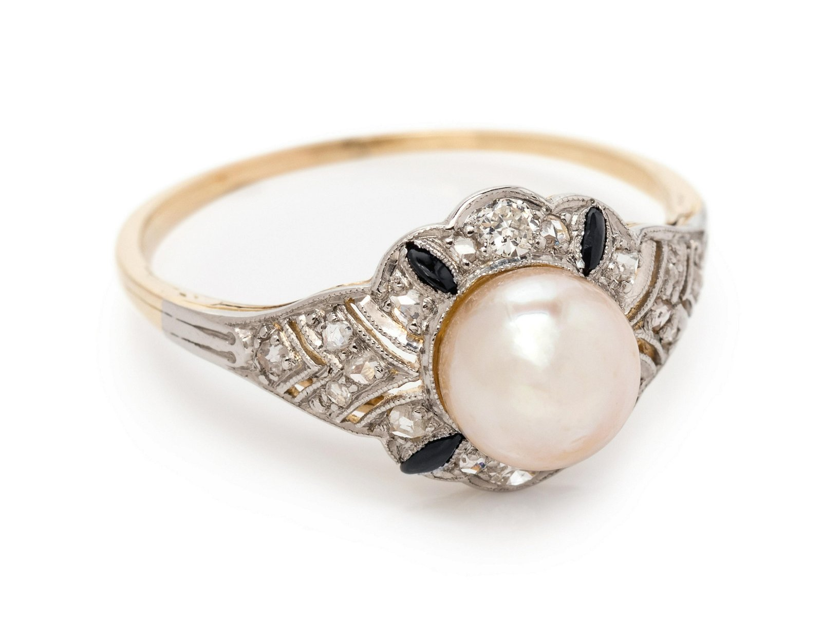 A Platinum Topped Yellow Gold, Pearl, Diamond and Onyx