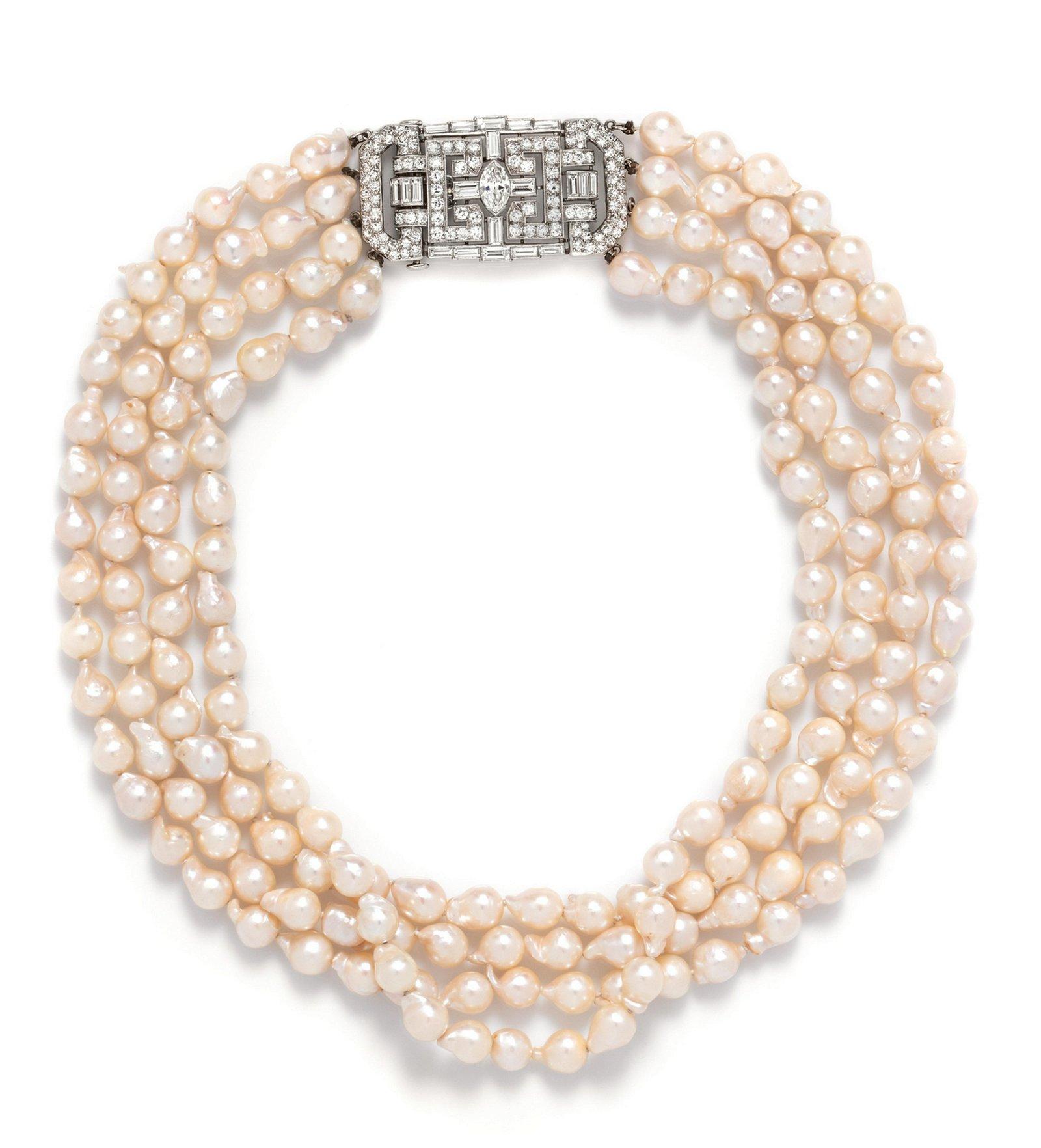 A Platinum, Diamond and Cultured Baroque Pearl
