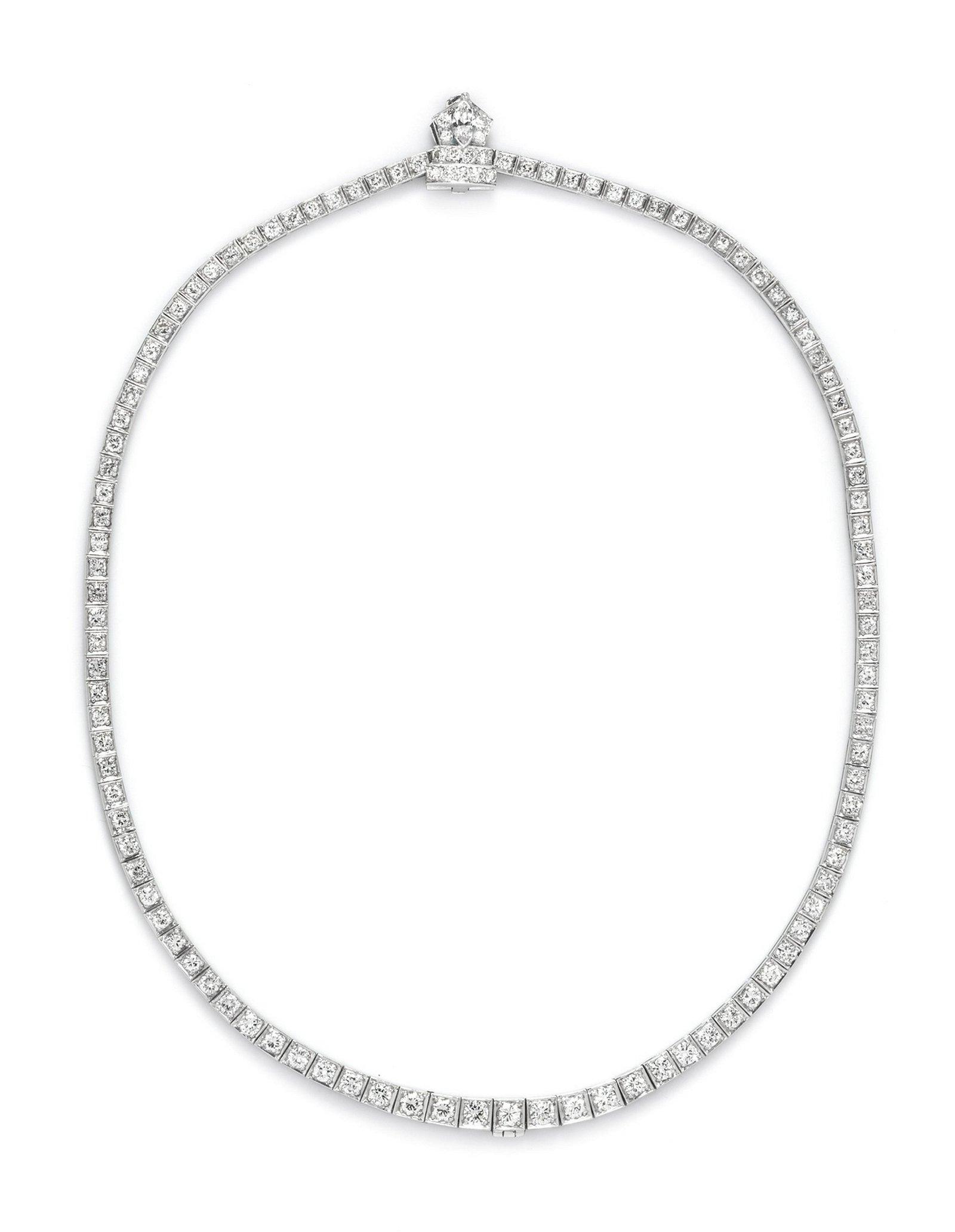 A Platinum and Diamond Riviera Necklace,