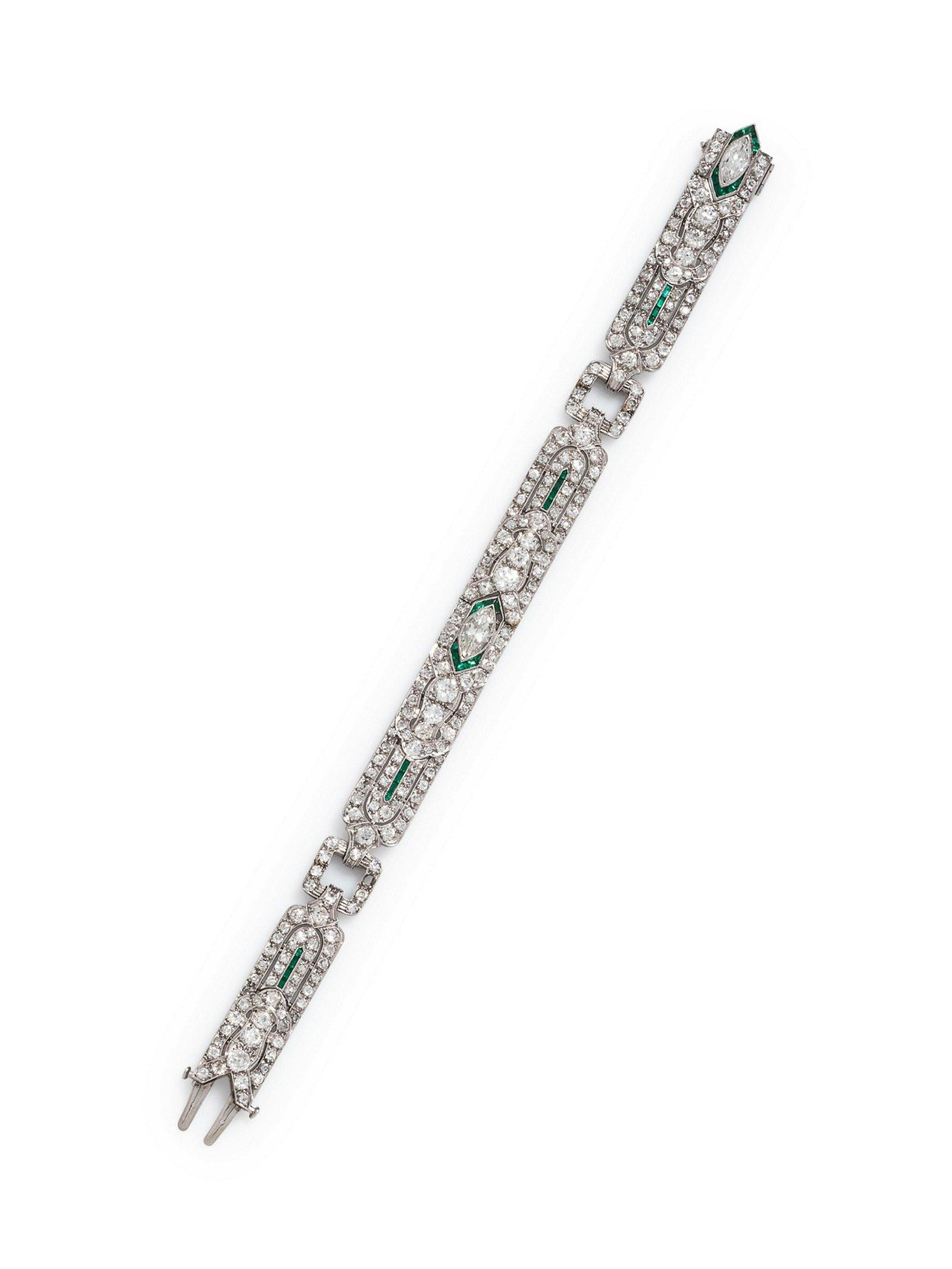 An Art Deco Platinum, Diamond and Emerald Bracelet,