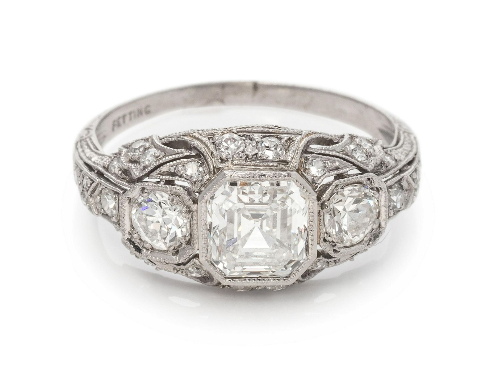 An Antique Platinum and Diamond Ring, A. H. Fetting,