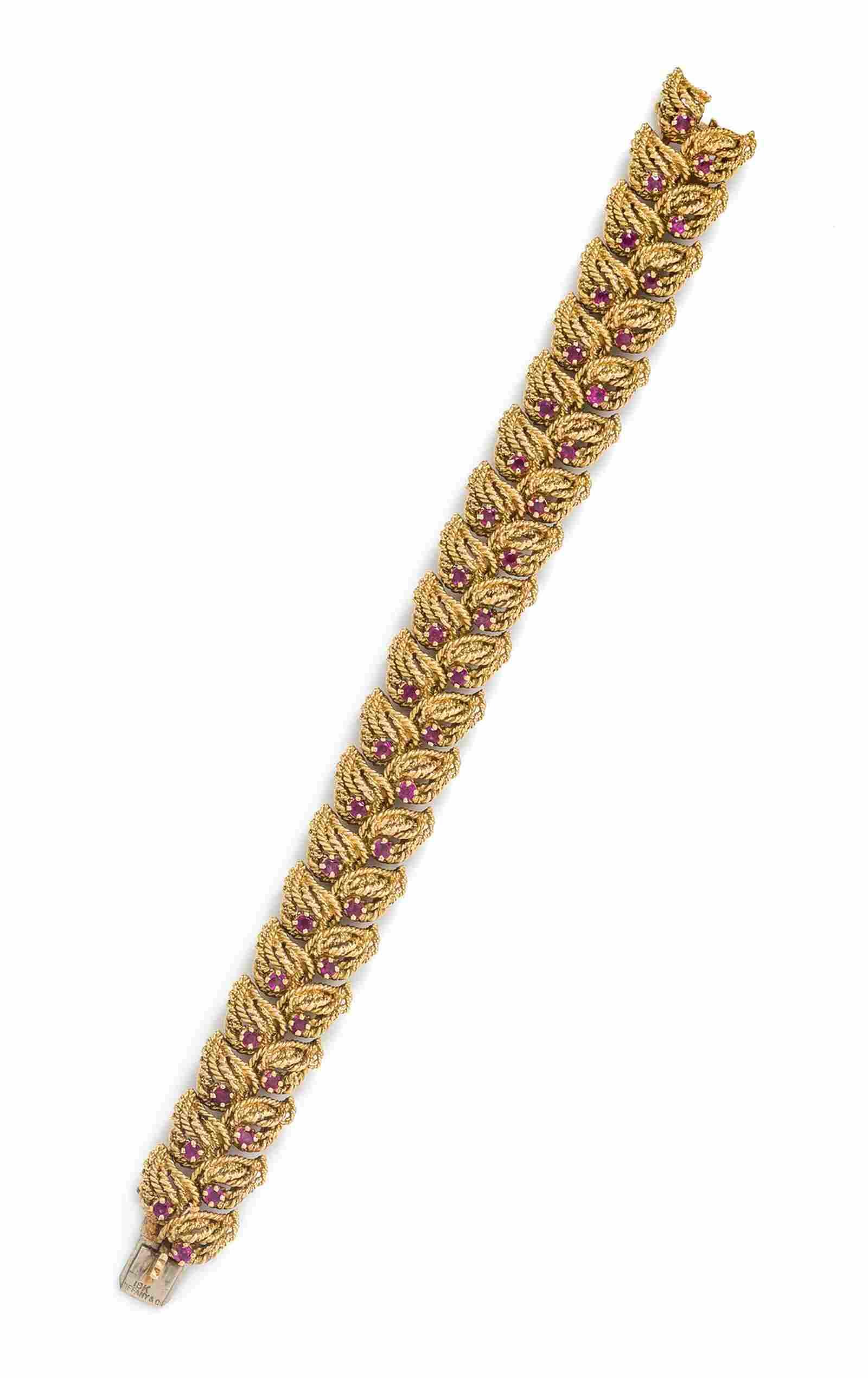 An 18 Karat Yellow Gold and Ruby Bracelet, Tiffany &