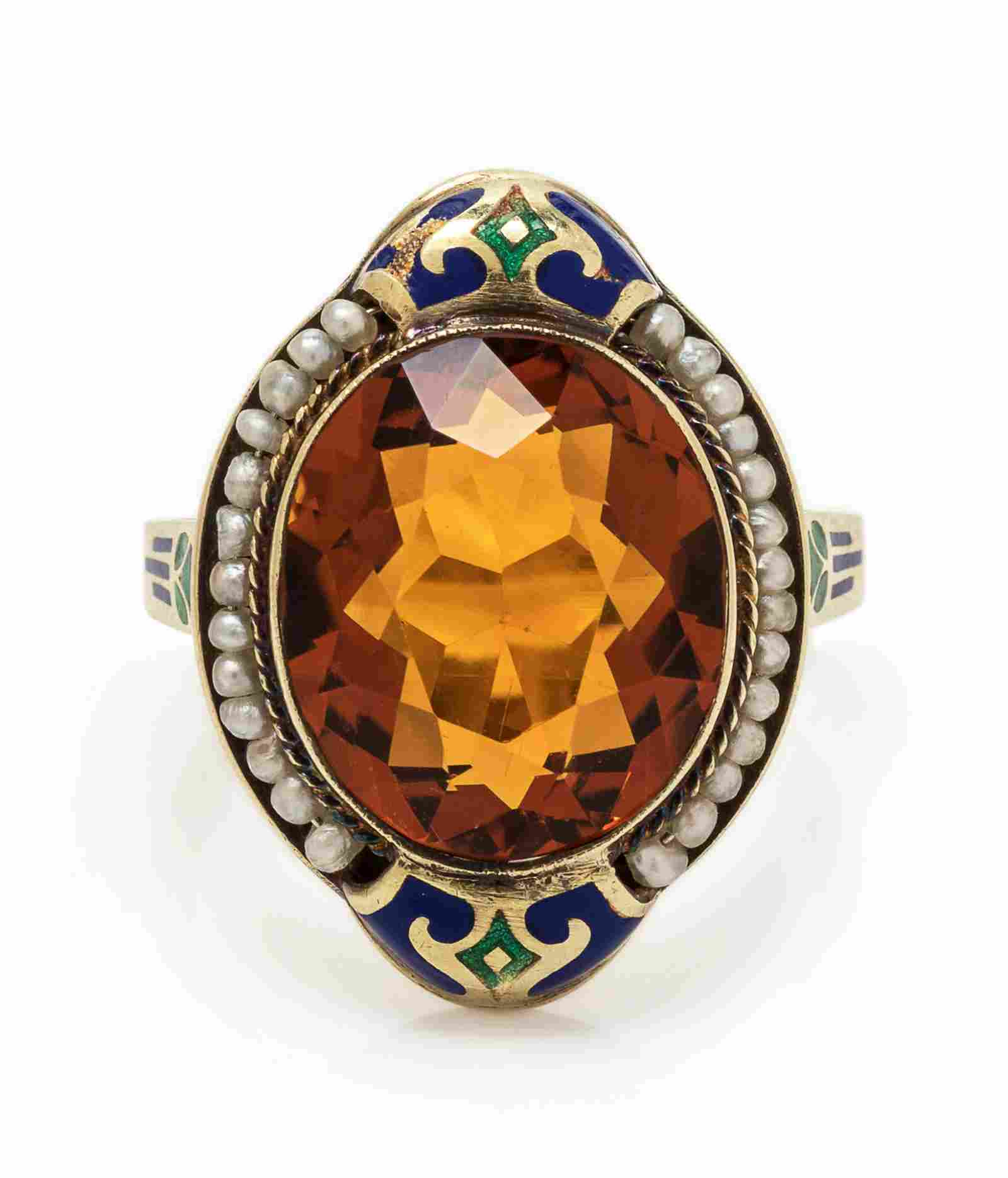 An Art Deco 14 Karat Yellow Gold, Citrine, Seed Pearl