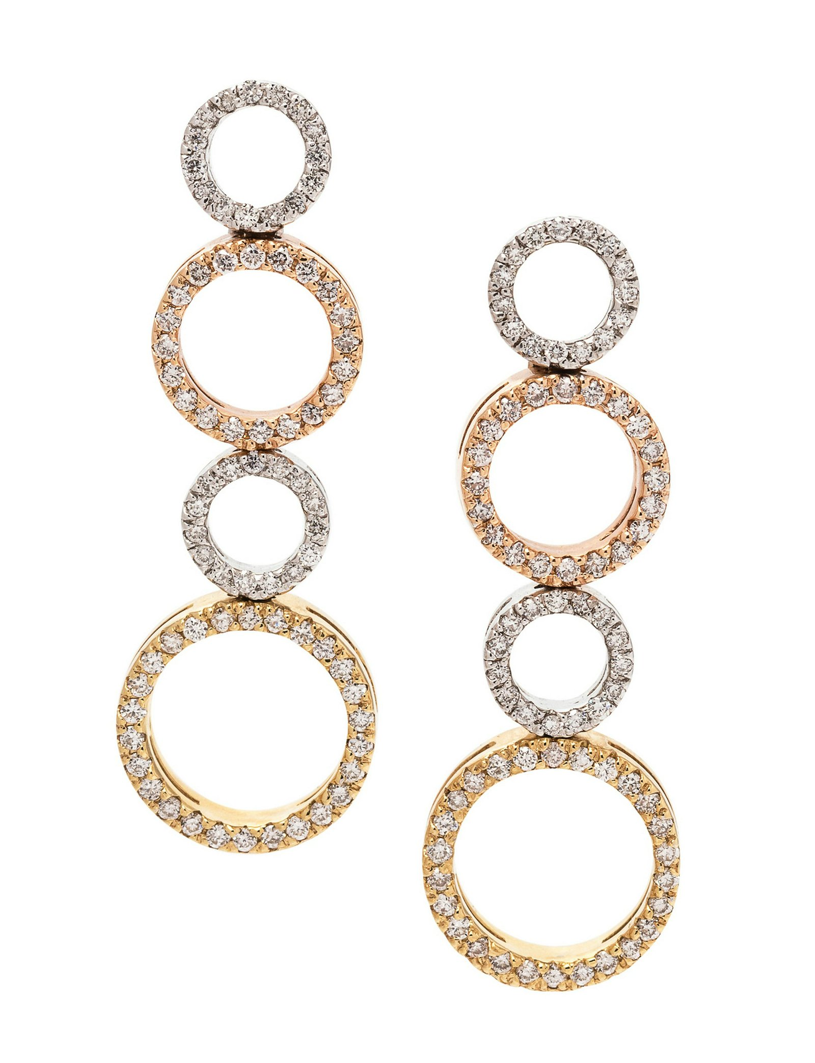 A Pair of 18 Karat Tricolor Gold 'Circle of Life'