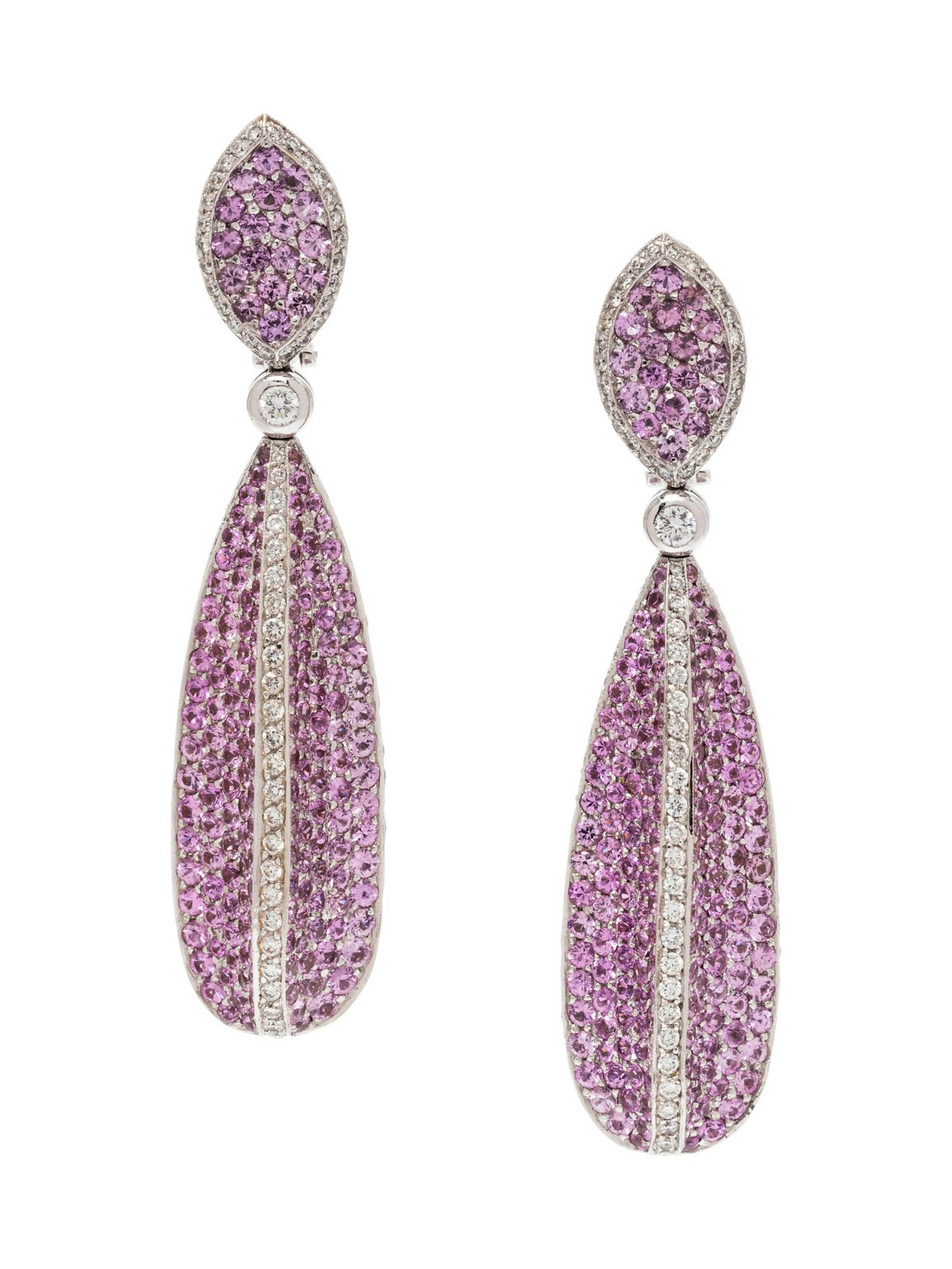 A Pair of 18 Karat White Gold, Pink Sapphire and