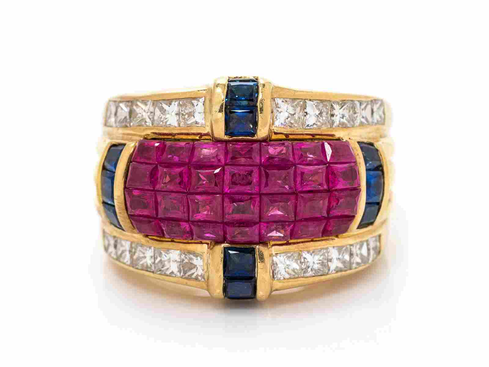 An 18 Karat Yellow Gold Ruby, Diamond and Sapphire