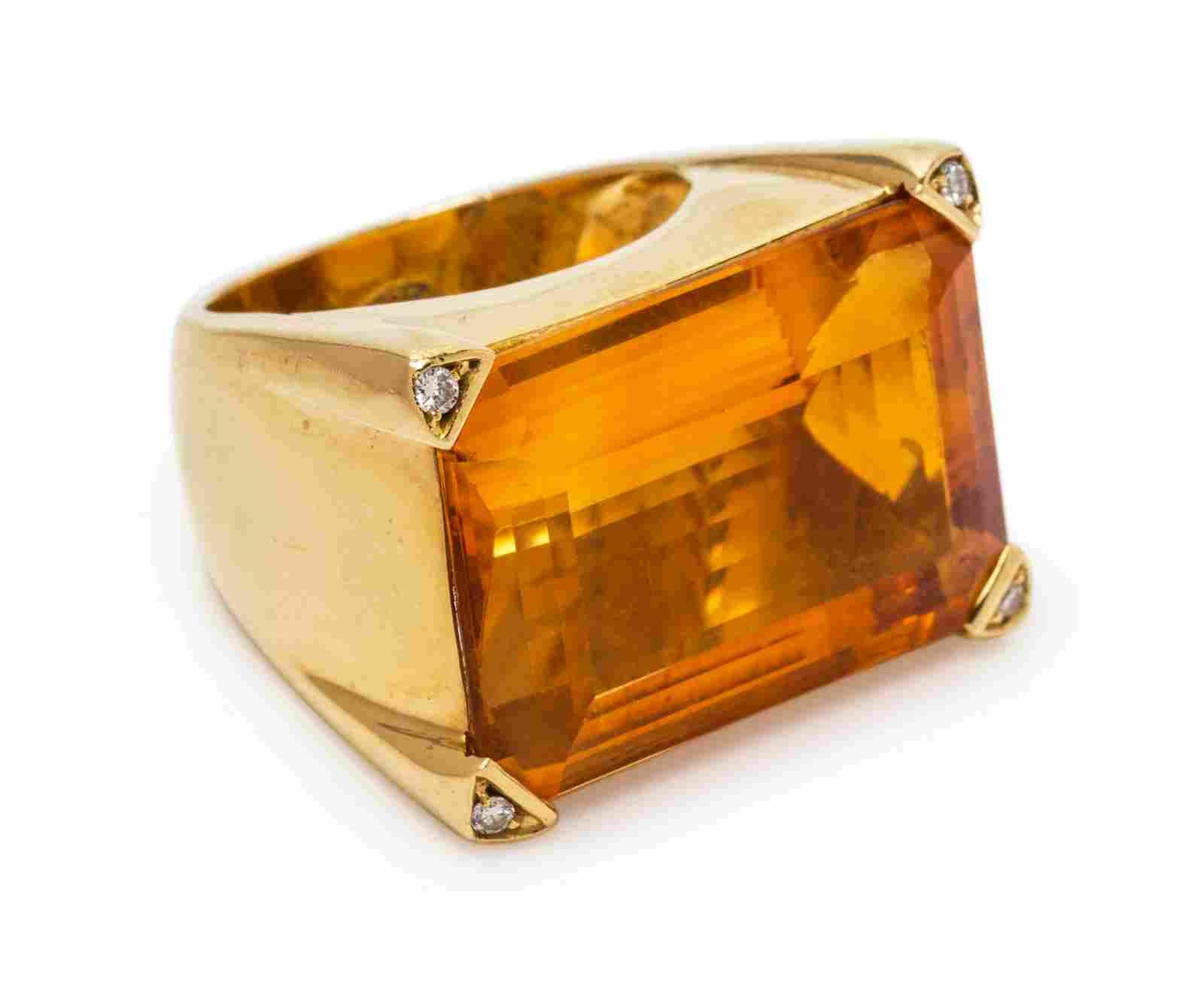 An 18 Karat Yellow Gold, Citrine and Diamond Ring,