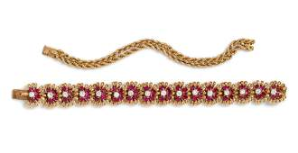 A Retro Yellow Gold Platinum Ruby and Diamond