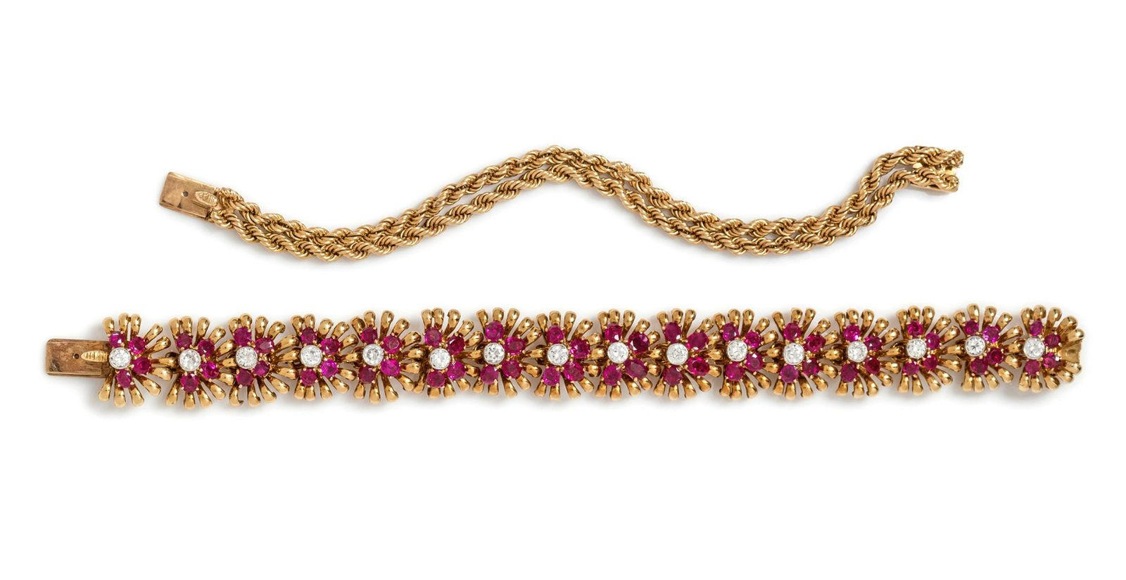 A Retro Yellow Gold, Platinum, Ruby and Diamond
