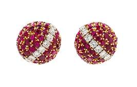 A Pair of Yellow Gold Platinum Ruby and Diamond Bombe