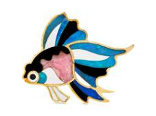 An 18 Karat Yellow Gold and Hardstone Goldfish Brooch,
