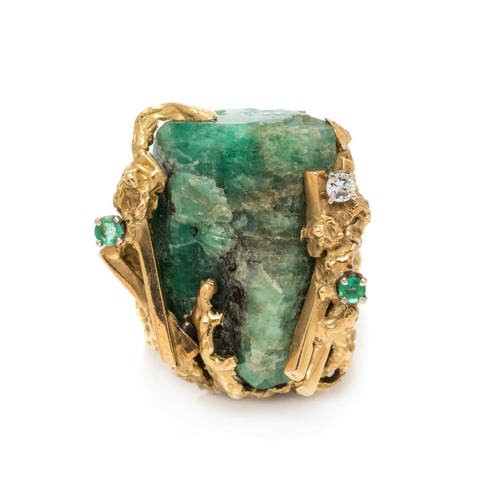 A Brutalist 18 Karat Yellow Gold, Emerald Crystal and