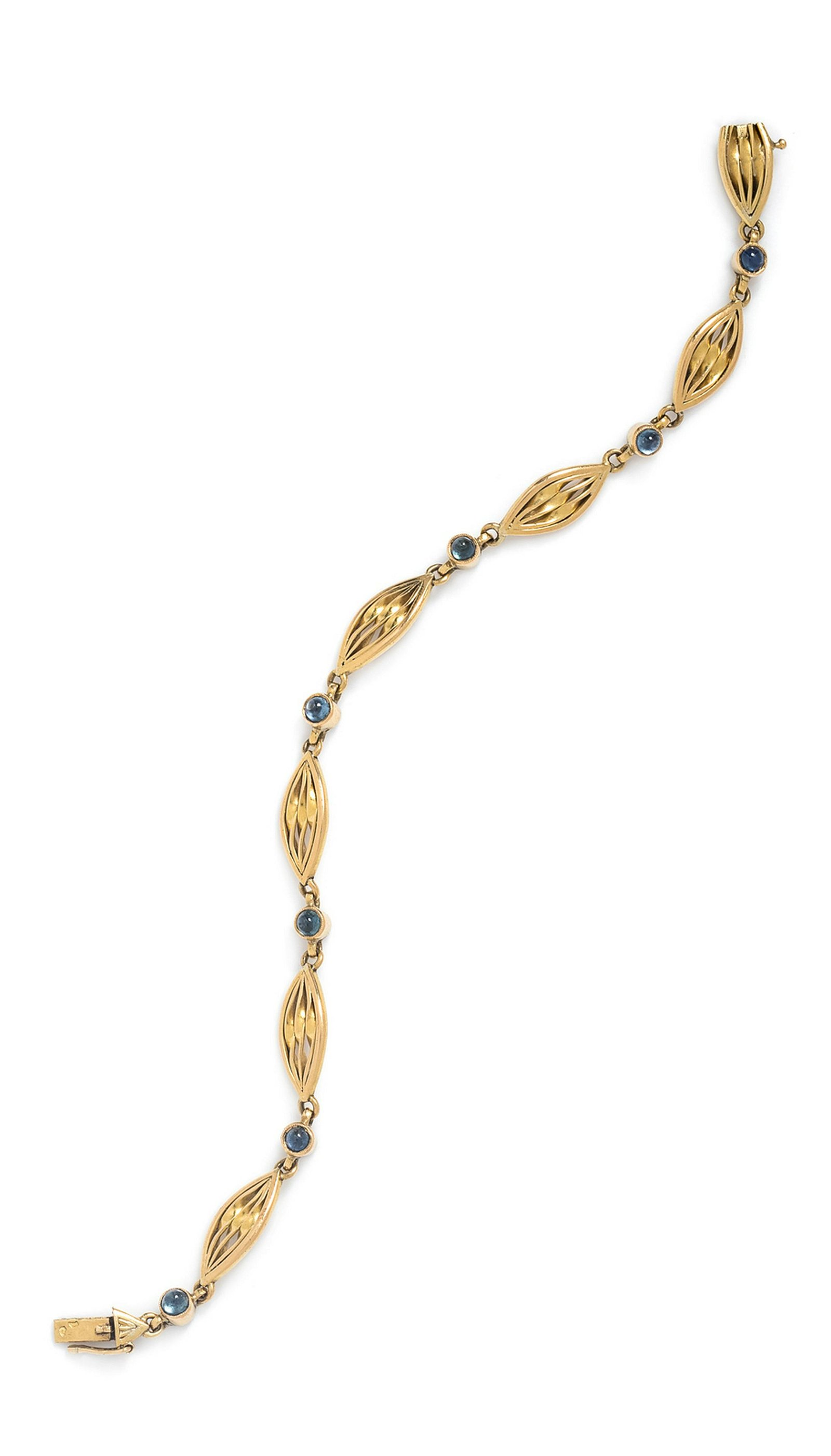 An 18 Karat Yellow Gold and Sapphire Bracelet, French,