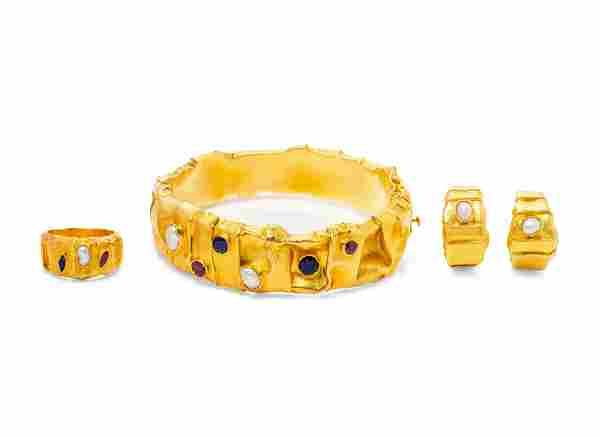 A Collection of 18 Karat Yellow Gold and Multigem