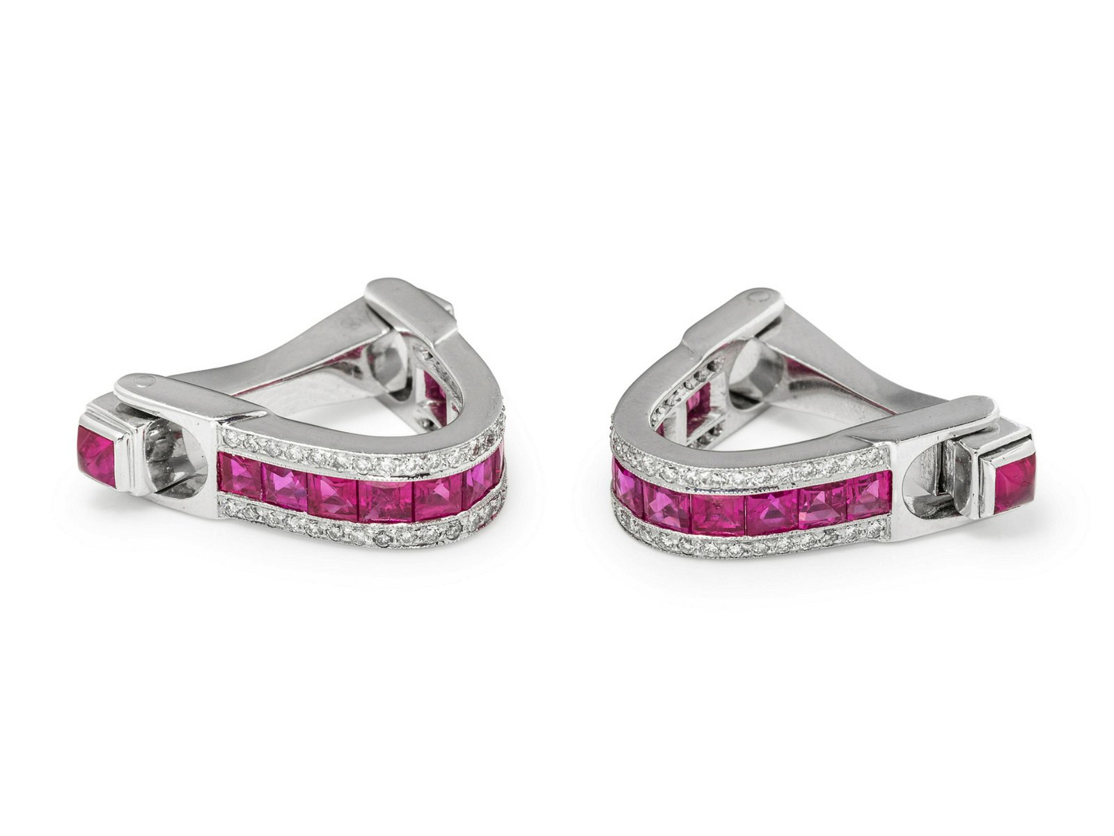 A Pair of White Gold, Ruby and Diamond Stirrup