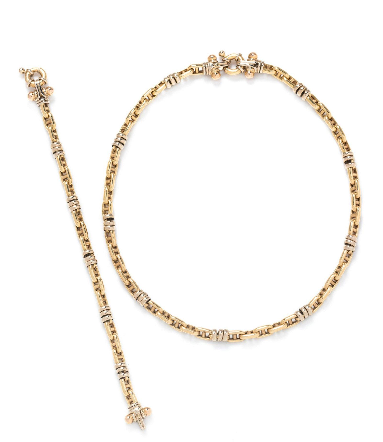 An 18 Karat Bicolor Gold Convertible Bracelet/Necklace,
