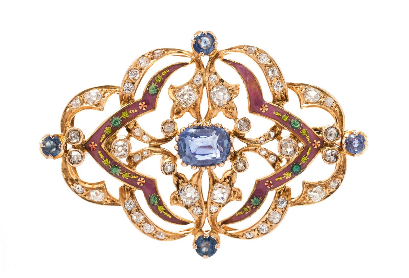 An Antique Yellow Gold, Sapphire, Diamond and