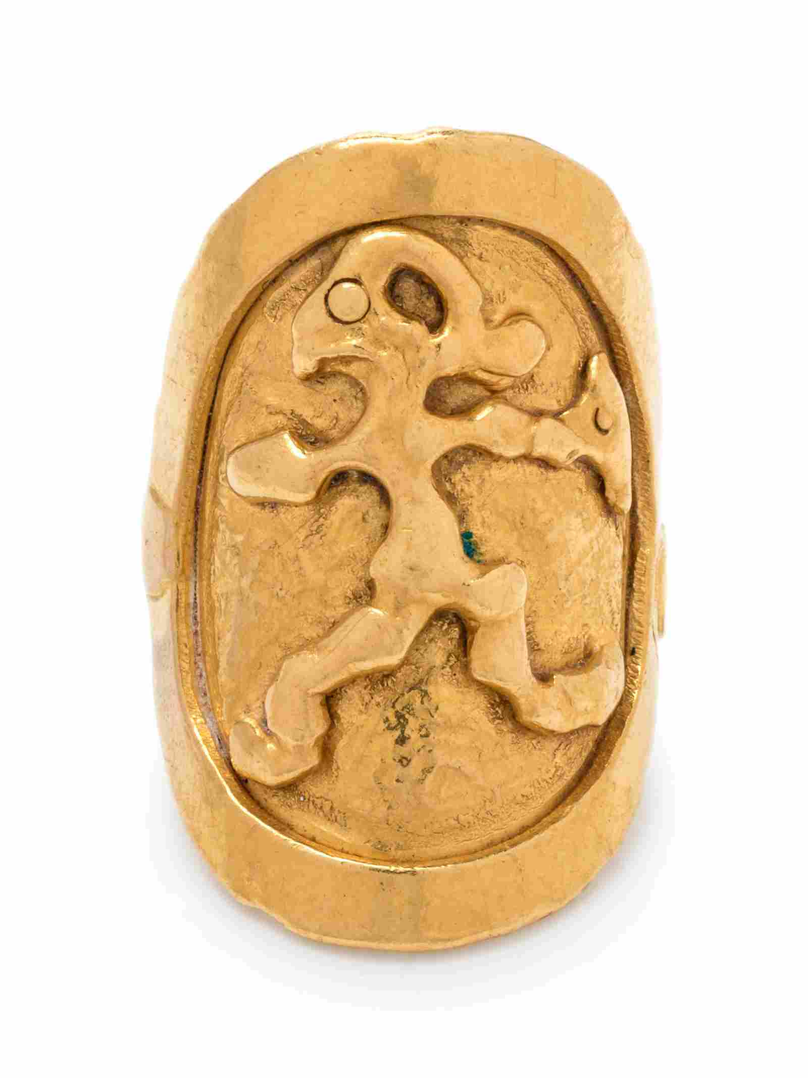 A 22 Karat Yellow Gold Figural Ring, Jean Mahie,