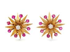 A Pair of Retro Yellow Gold Diamond and Ruby Starburst