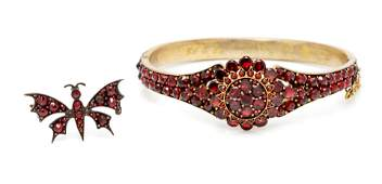 A Collection of Victorian Bohemian Garnet Jewelry