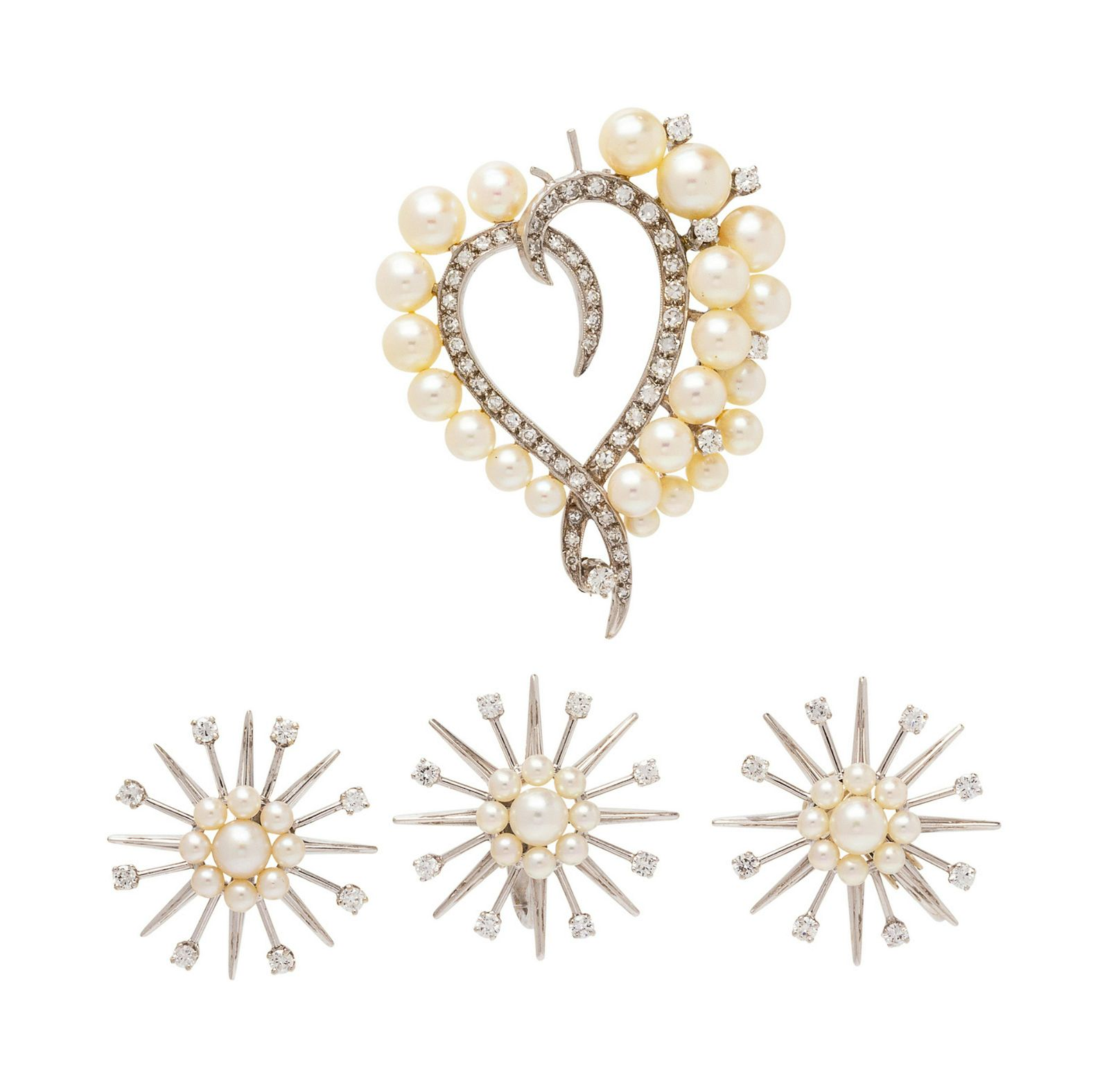 A Collection of White Gold, Cultured Pearl and Diamond