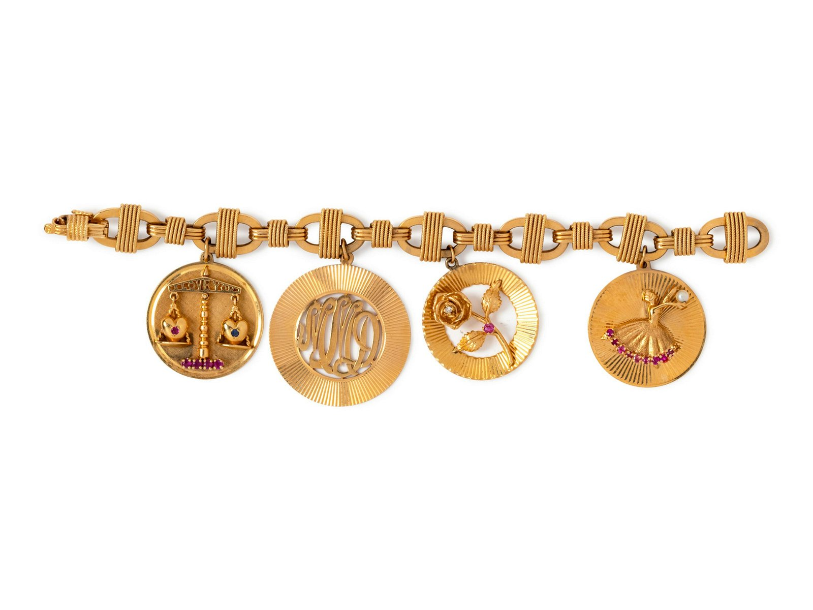 A 14 Karat Yellow Gold Bracelet with 4 Attached Charms,